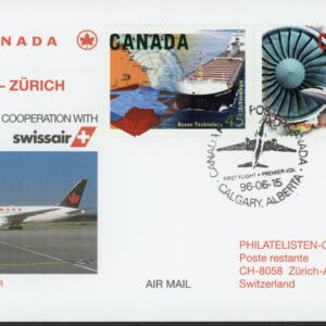 1996 Erstflug Air Canada Vancouver-Calgary-Zürich Non Stop, First Flight with Swissair