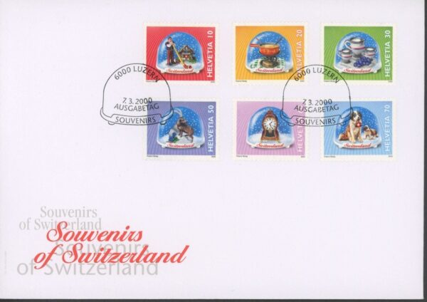 FDC Brief 2000 Ersttagsbrief Souvenirs of Switzerland